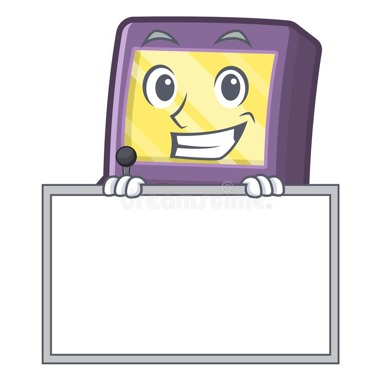 Grinning with board arcade machine isolated with the character stock illustration