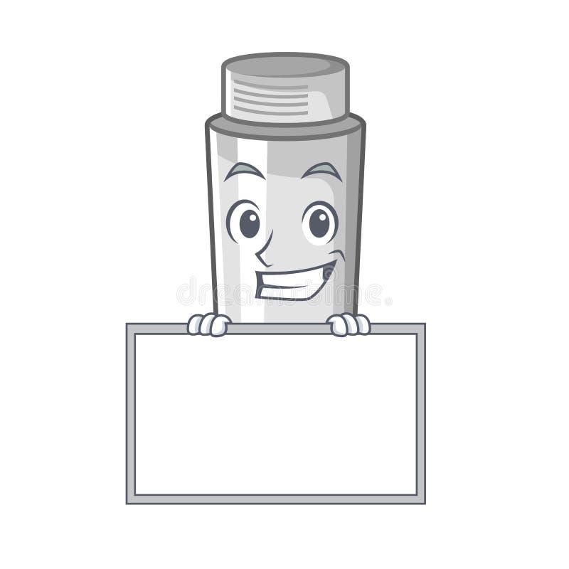 Grinning with board asthma inhaler in the cartoon shape. Vector illustration vector illustration
