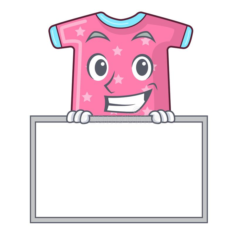 Grinning with board character baby clothes hanging on clothesline. Vector illustration vector illustration