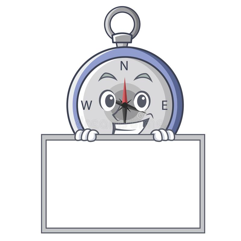 Grinning with board compass character cartoon style stock illustration