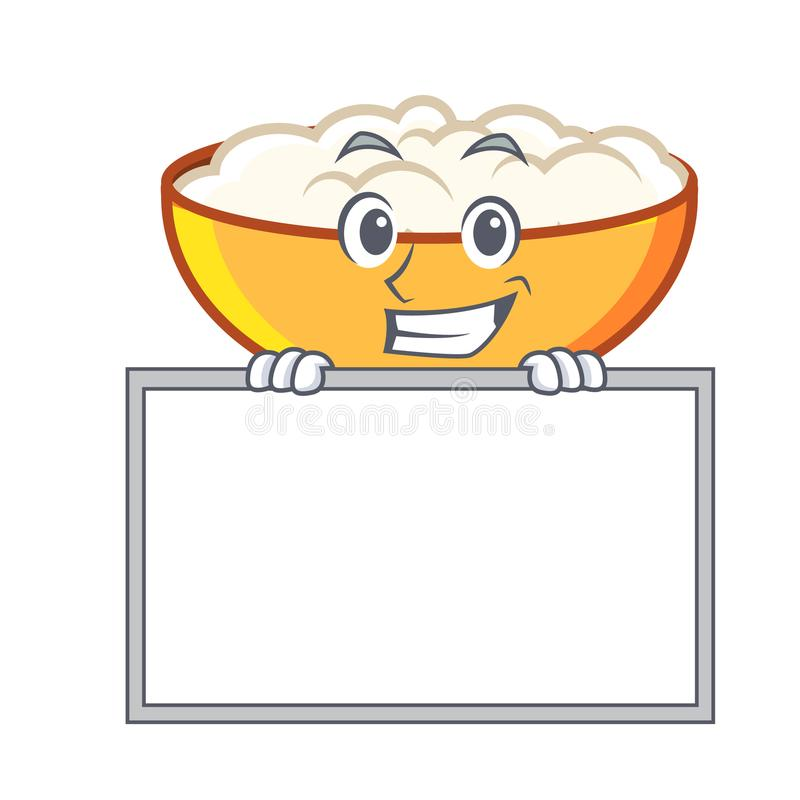 Grinning with board cottage cheese character cartoon. Vector illustration stock illustration