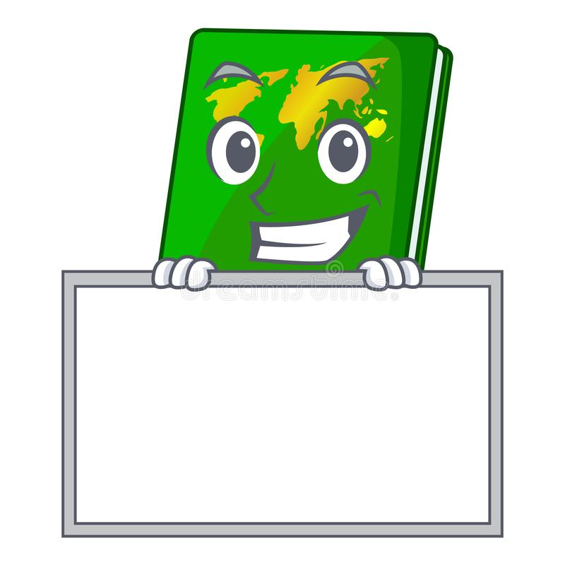 Grinning with board green passport in a character bag. Vector illustration royalty free illustration