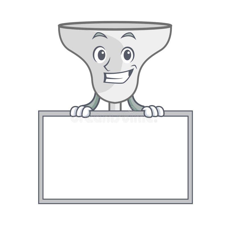 Grinning with board margarita glass character cartoon. Vector illustration royalty free illustration