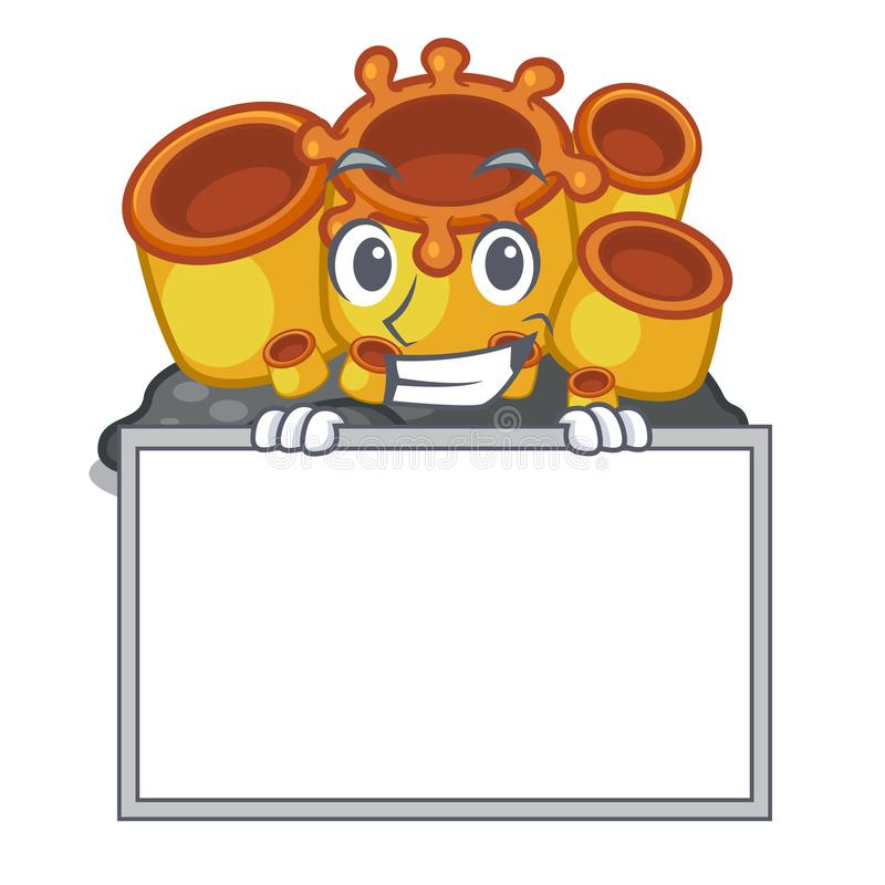 Grinning with board miniature orange sponge coral in character. Vector illustration stock illustration