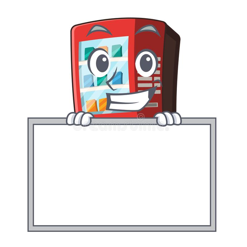 Grinning with board vending machine in the cartoon shape vector illustration
