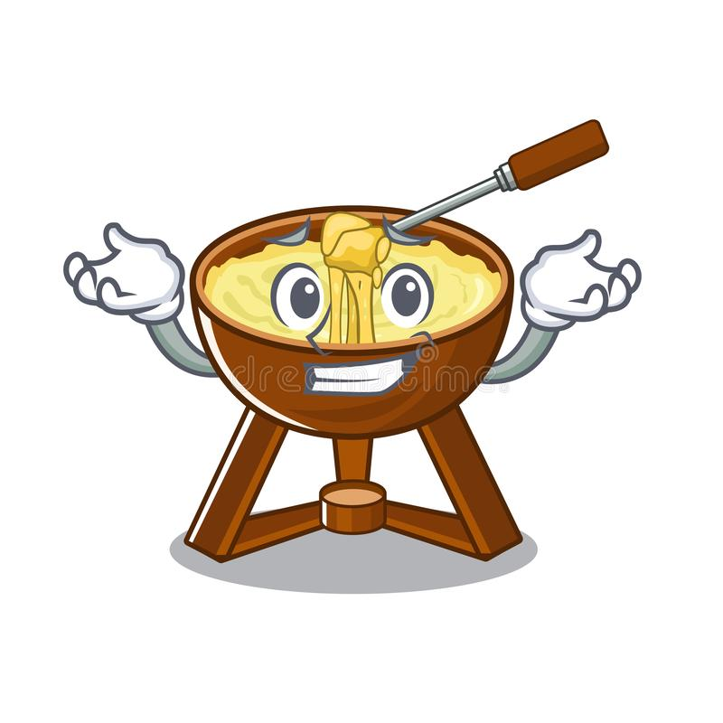 Grinning cheese fondue with in mascot shape. Vector illustration vector illustration