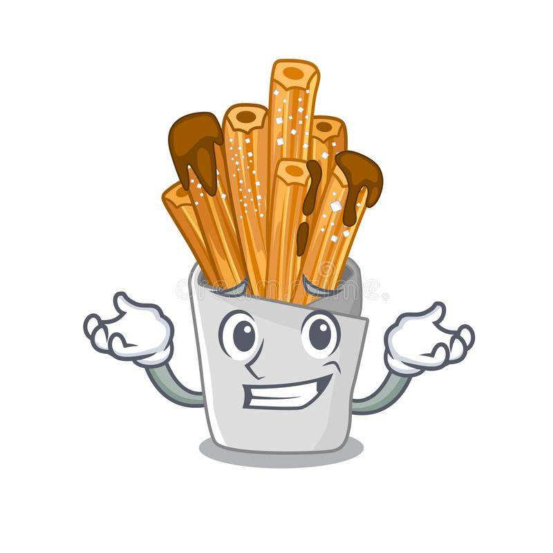 Grinning churros isolated with in the cartoon. Vector illustration stock illustration