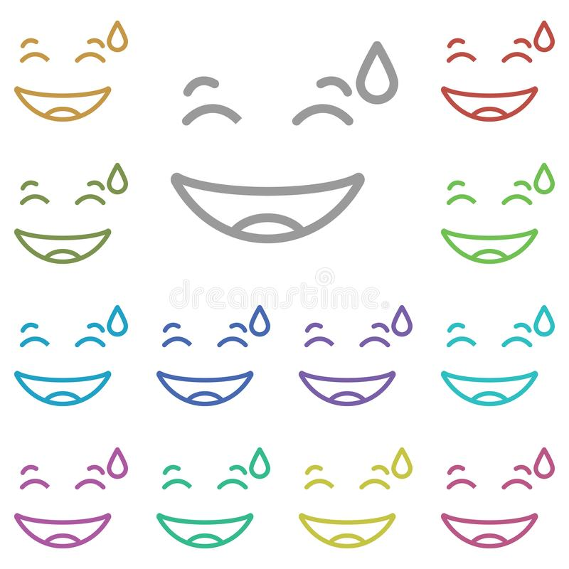Grinning, face, with, sweat multi color icon. Simple thin line, outline vector of emotion icons for ui and ux, website or mobile stock illustration