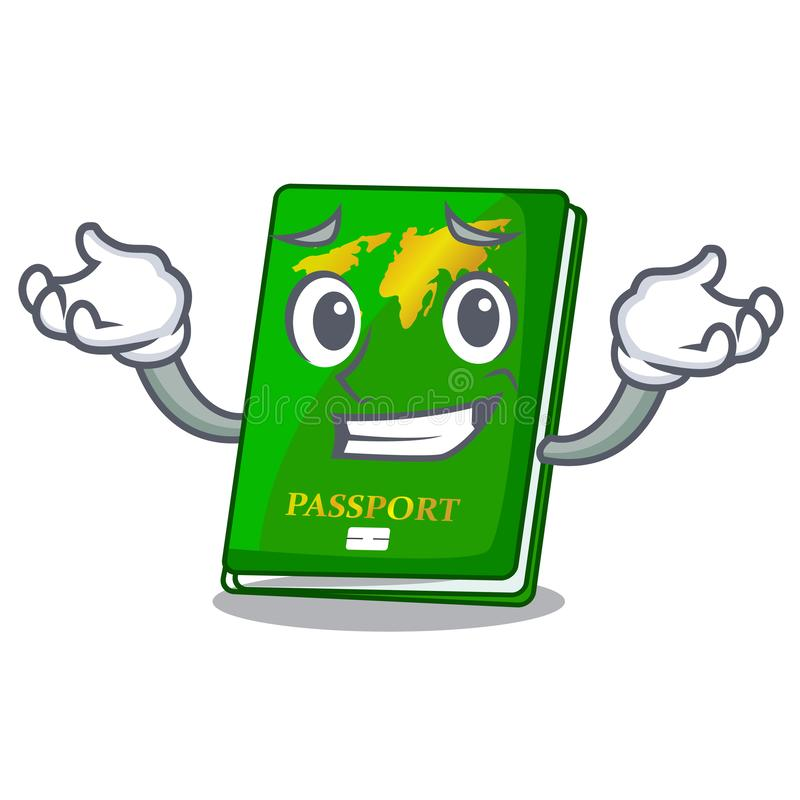 Grinning green passport in the cartoon shape. Vector illustration stock illustration