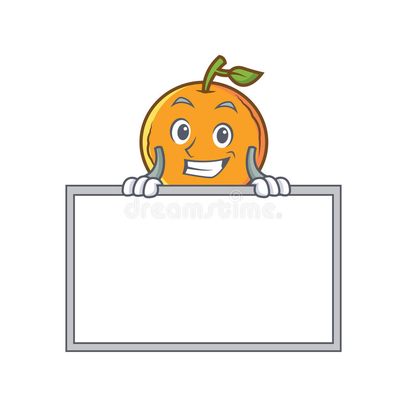 Grinning orange fruit cartoon character with board stock illustration