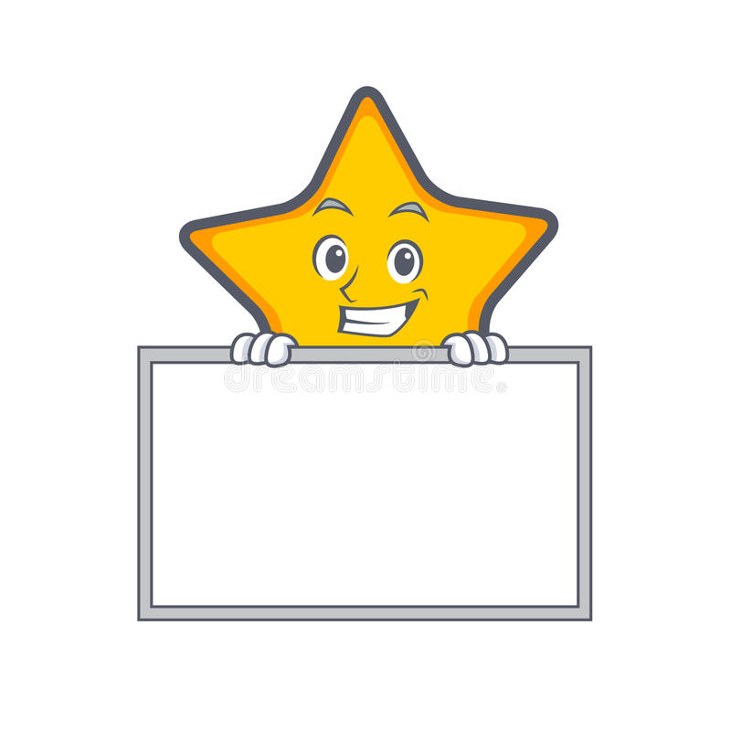 Grinning star character cartoon style with board royalty free illustration