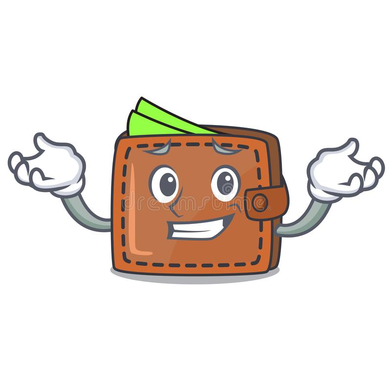 Grinning wallet character cartoon style royalty free illustration