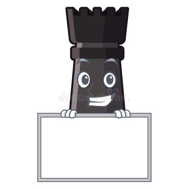 Grinsen mit Brettturmschachspielwaren über Karikaturtabelle lizenzfreie abbildung