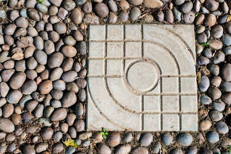 Grint en concreet baksteenblok royalty-vrije stock afbeeldingen