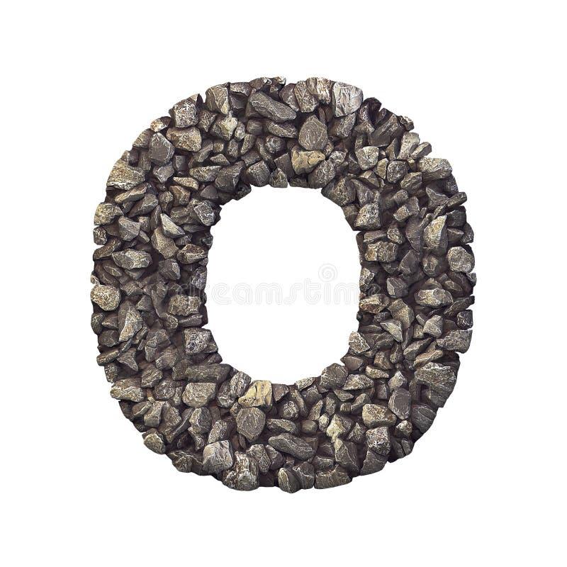 Grintbrief O - 3d verpletterde rotsdoopvont In hoofdletters - aard, milieu, bouwmaterialen of onroerende goederenconcept