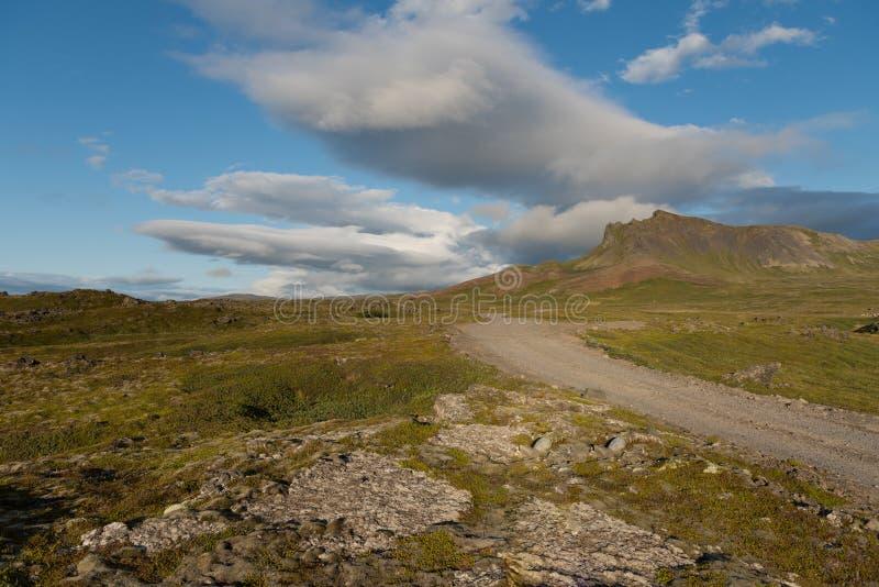 Grintweg in zuidelijke fjorden, stock foto's
