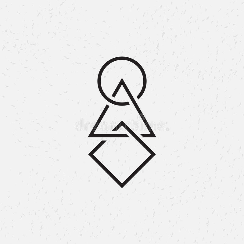 Gripa in i varandra cirkel, triangel och fyrkant, geometriska symboler vektor illustrationer