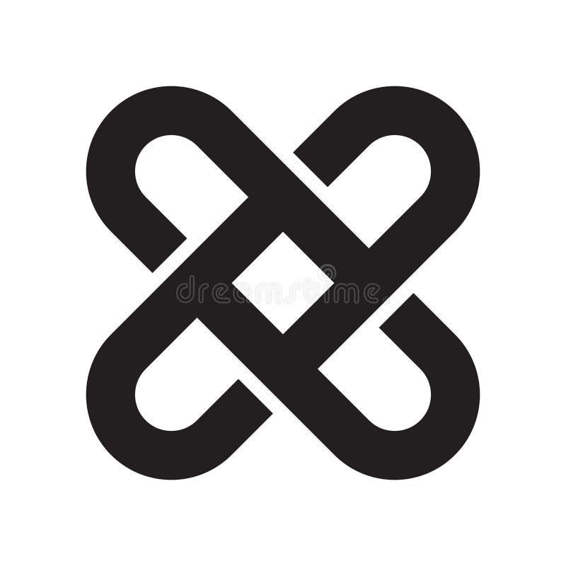 Gripa in i varandra det symbolsvektortecknet och symbolet som isoleras på vit backg vektor illustrationer