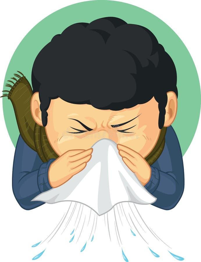 Gripe cogida muchacho y estornudo libre illustration