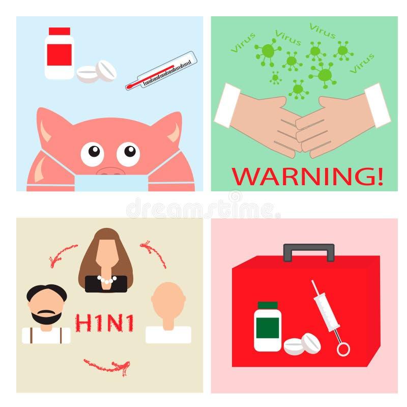 Gripe de suínos ajustada - ícones epidêmicos ilustração royalty free