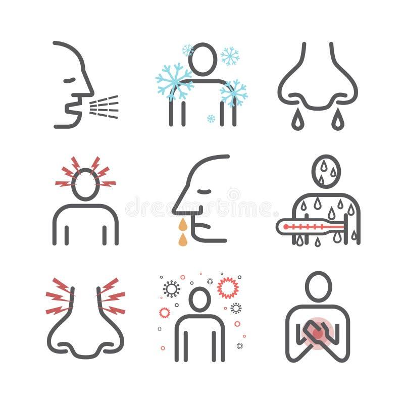gripe Síntomas de la gripe, tratamiento Línea iconos fijados Muestras del vector para los gráficos del web ilustración del vector