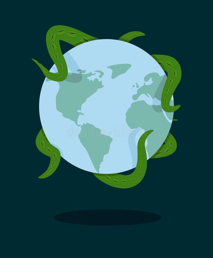 Gripen planetjord för tentakel bläckfisk stock illustrationer