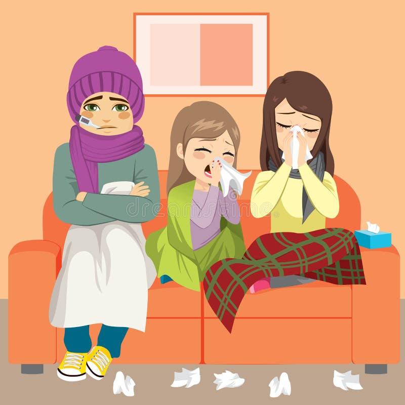 Grippe de divan de famille illustration de vecteur