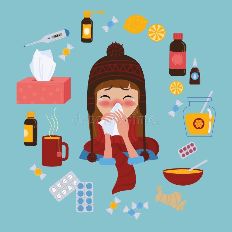 Grippe froide attrapée ou virus de jeune fille Traitement de maladie illustration stock