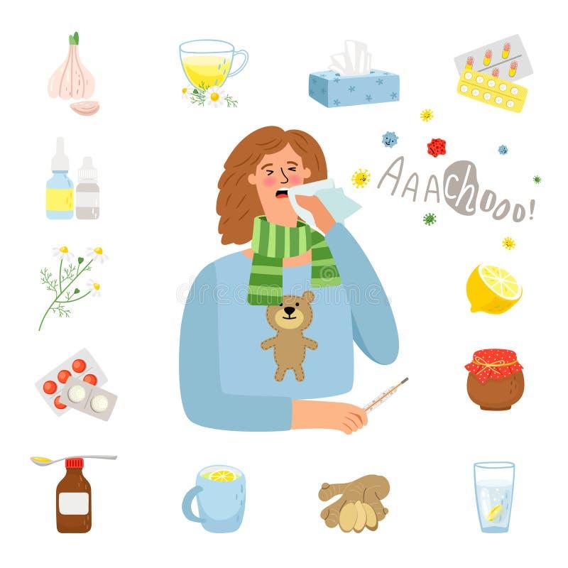 Grippe ou traitement froid illustration libre de droits