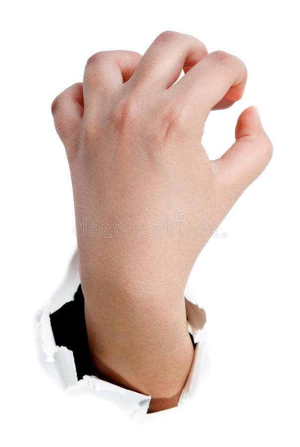 Download Gripping Hand . Reaching Paper Catching Tearing Ho Stock Photo - Image: 33226458