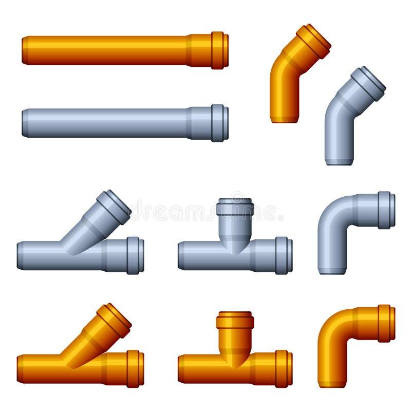 Gris anaranjado de los tubos de alcantarilla del PVC ilustración del vector