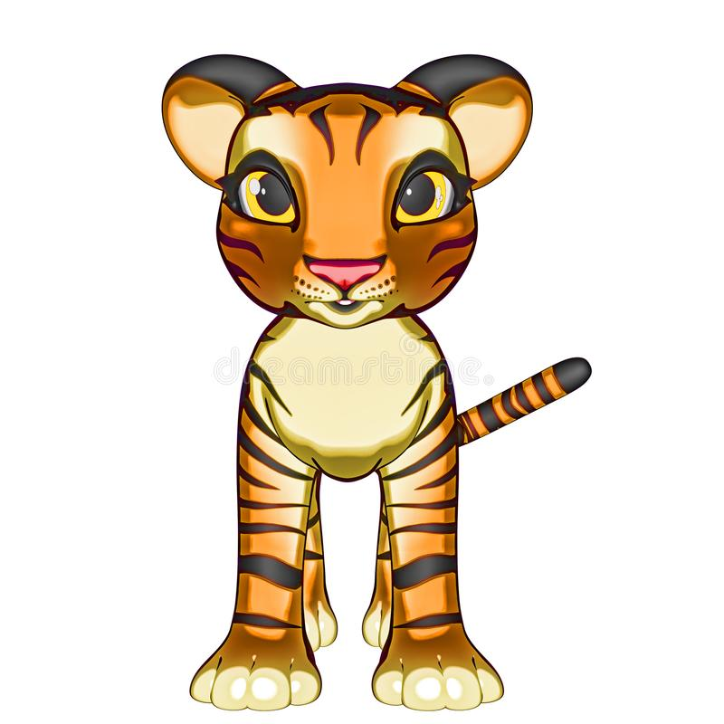 Baby Tiger Kitten. Gris is a baby tiger that likes to play and roar, ready to run and purr like a kitty royalty free illustration