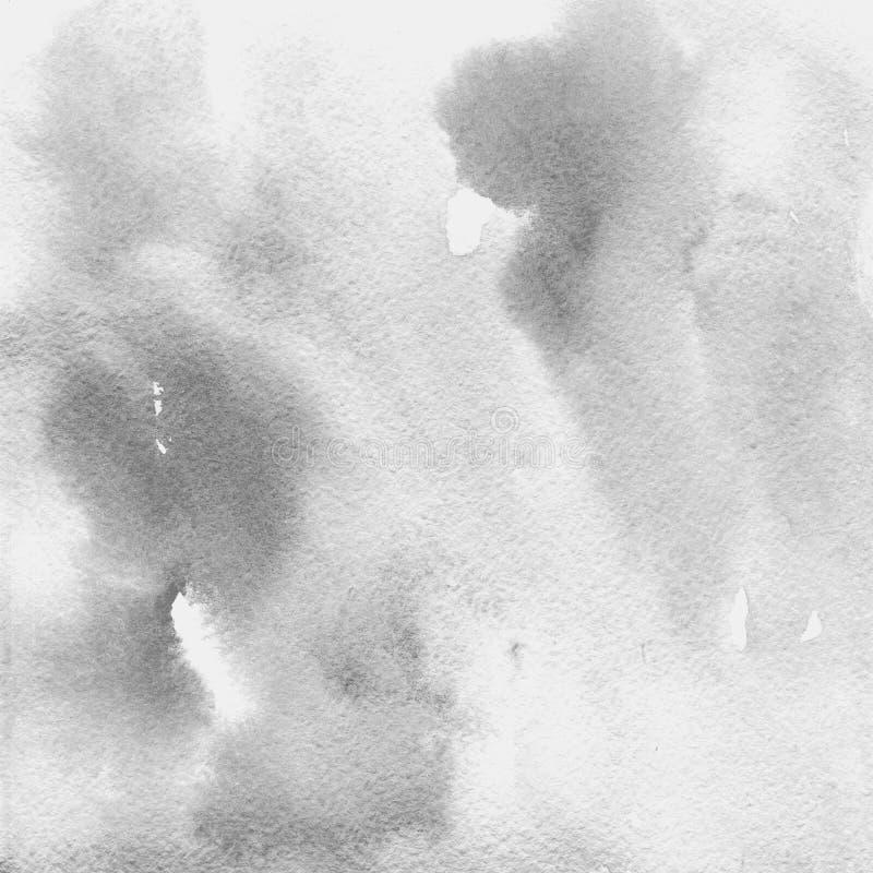 Gris claro transparente de la textura de la acuarela fondo abstracto, punto, falta de definición, terraplén ilustración del vector