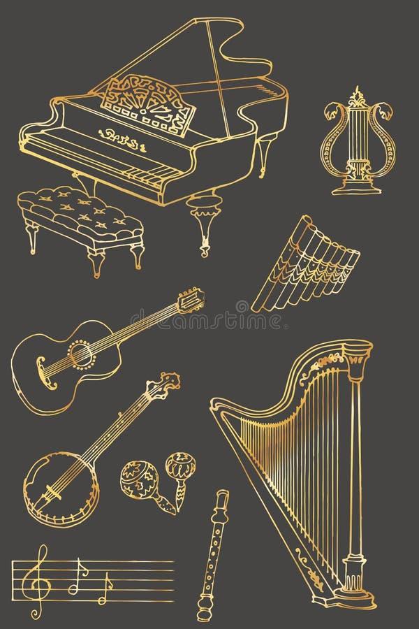 Gris d'or de couleur de musique illustration de vecteur