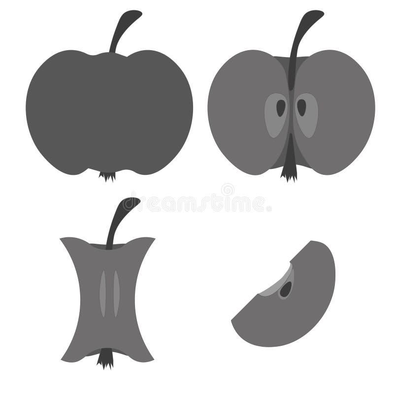 Gris d'icône d'Apple, moitié, quart, souche illustration stock