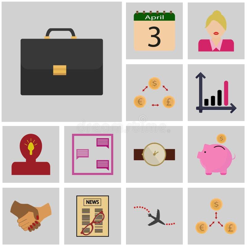 Gris d'icônes, place/cas réglé d'icône revenu d'icône, valise, illustration de vecteur
