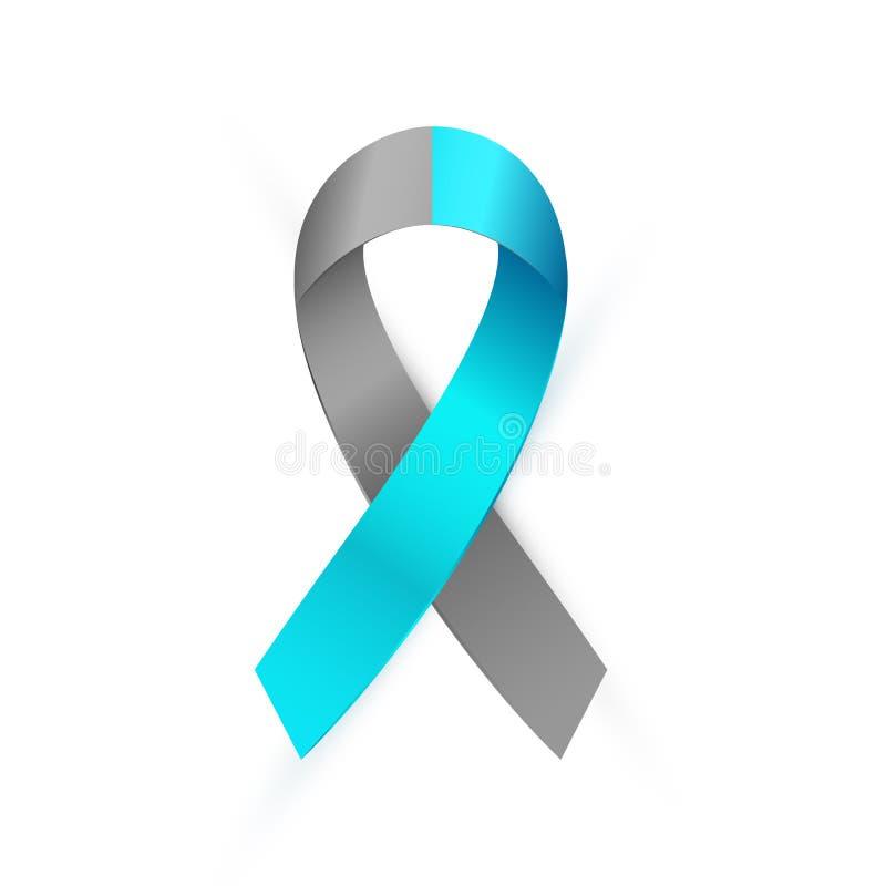 gris 3d y cinta azul de la conciencia Tipo 1 de la diabetes, muestra médica de la conciencia del desorden de personalidad límite  ilustración del vector