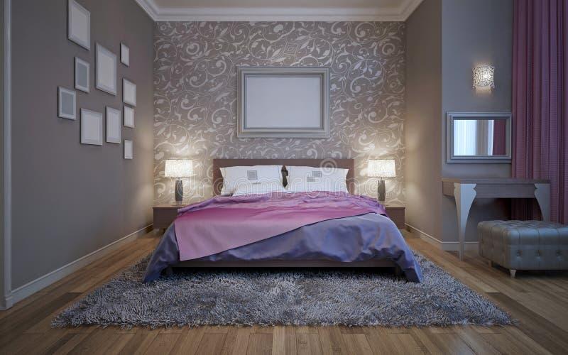 Gris de acero en el diseño moderno de dormitorio imagen de archivo libre de regalías