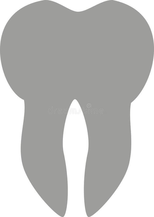 Gris del icono del diente stock de ilustración