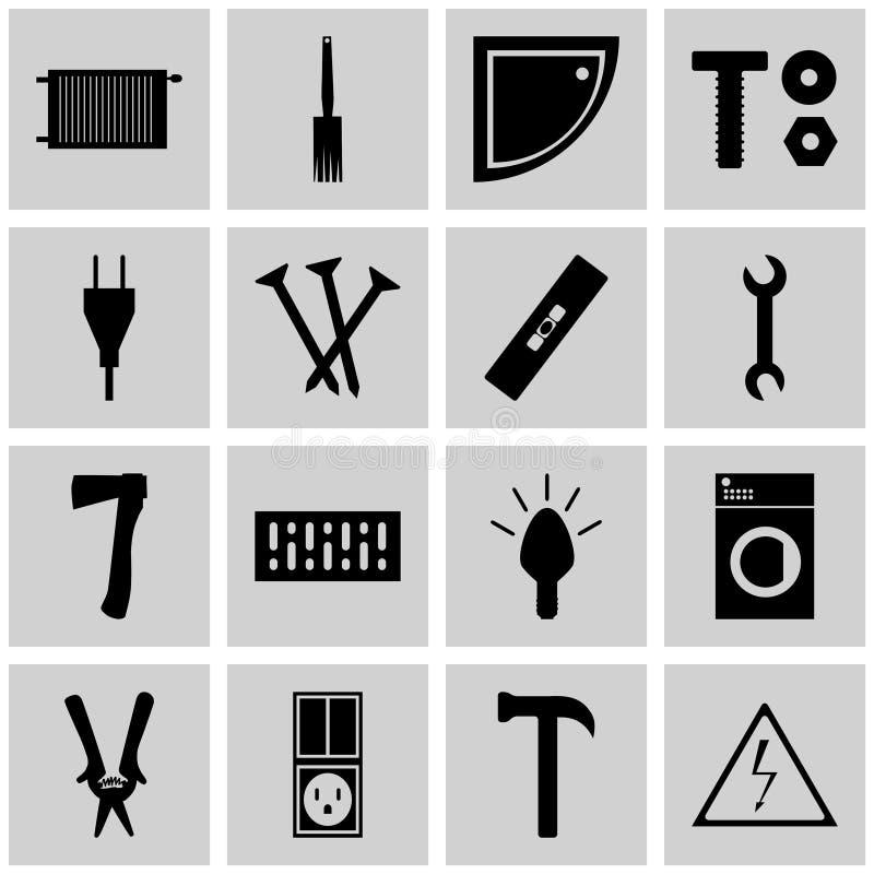 Gris determinado del icono, cuadrado, iconos que reparan la reparación del icono del vector stock de ilustración