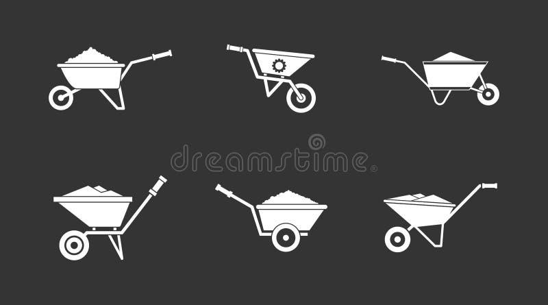 Gris determinado del icono de la carretilla ilustración del vector