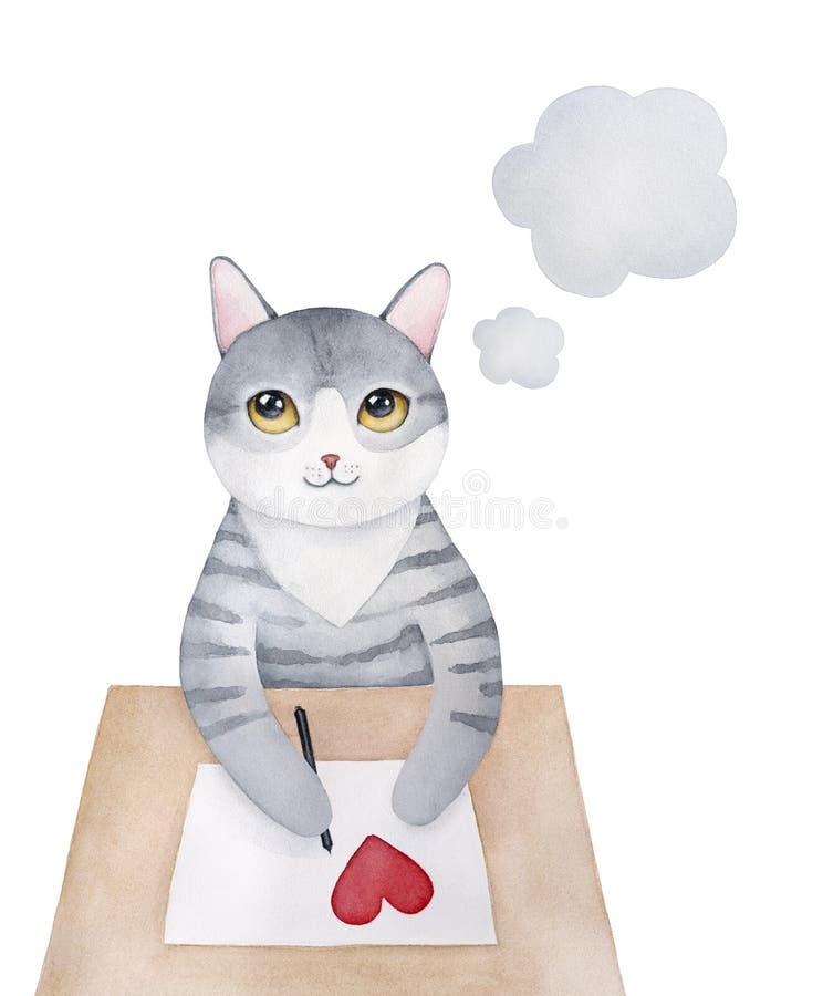 Gris dulce poca letra de amor de la escritura del carácter del gatito libre illustration