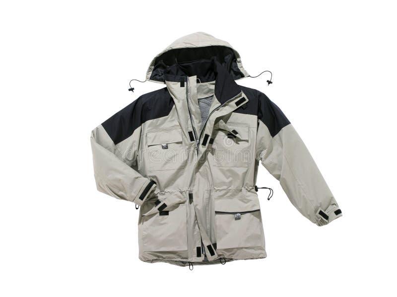 Gris encapuchado de la chaqueta de la lluvia aislado en el fondo blanco imagen de archivo libre de regalías