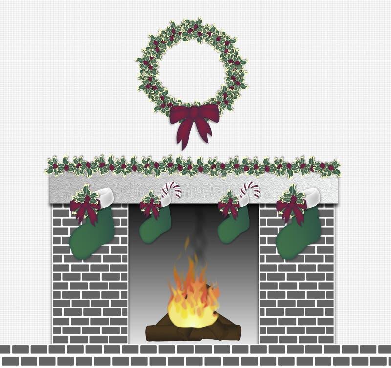 Gris festivo de la chimenea ilustración del vector