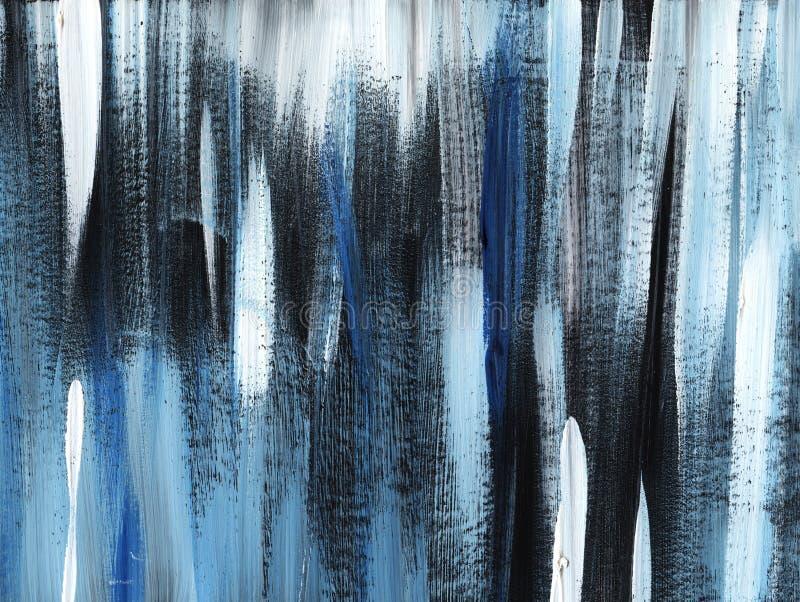Gris, fond rayé noir et bleu de grange peint à la main avec le pinceau sur un papier modifié la tonalité image stock