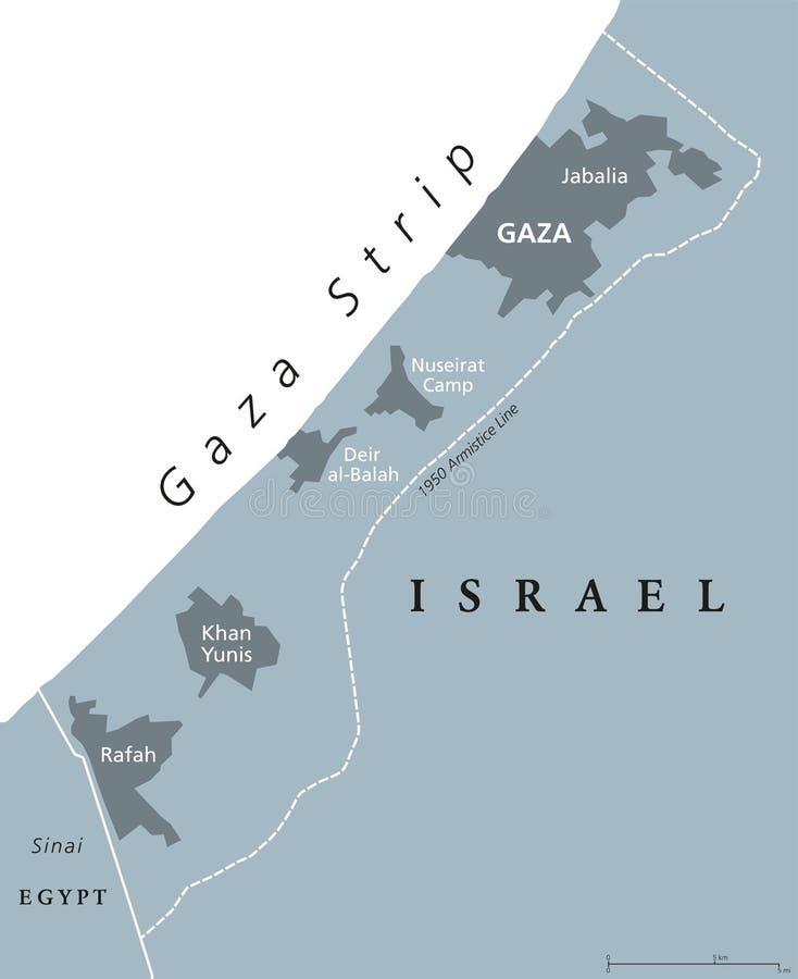 Gris político del mapa de la Franja de Gaza  stock de ilustración