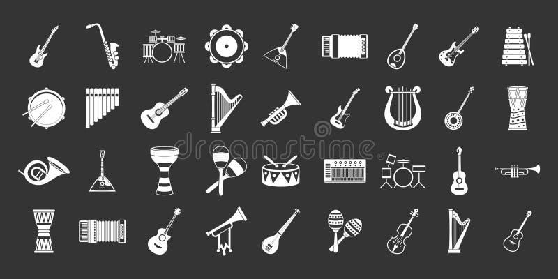 Gris réglé d'icône d'instrument de musique illustration libre de droits