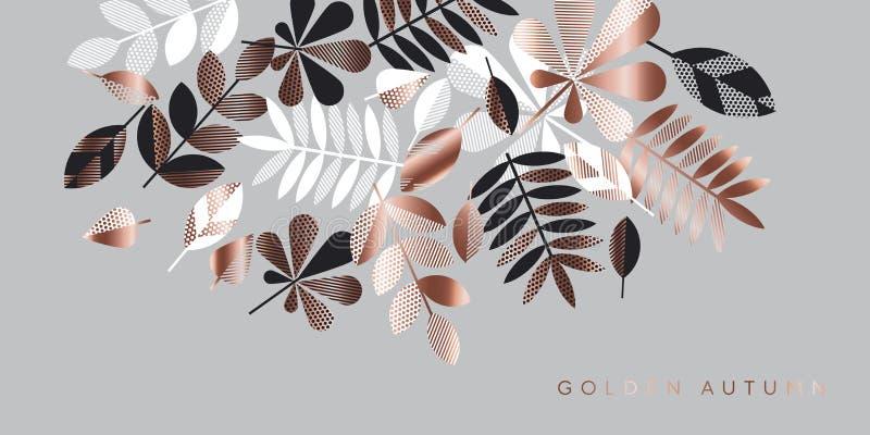Gris y composición color de rosa de las hojas del oro para el jefe stock de ilustración