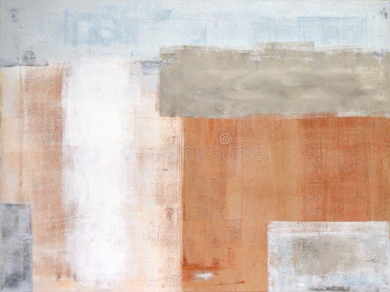 Gris y pintura del arte abstracto de Brown imagen de archivo