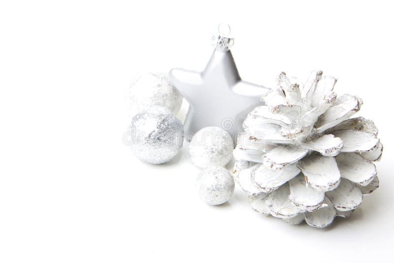 Gris y plata de la decoración de la Navidad foto de archivo libre de regalías